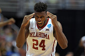 Buddy Hield of the Oklahoma Sooners reacts against the Texas AM Aggies during the West Regional Semifinal of the 2016 NCAA Men's Basketball...