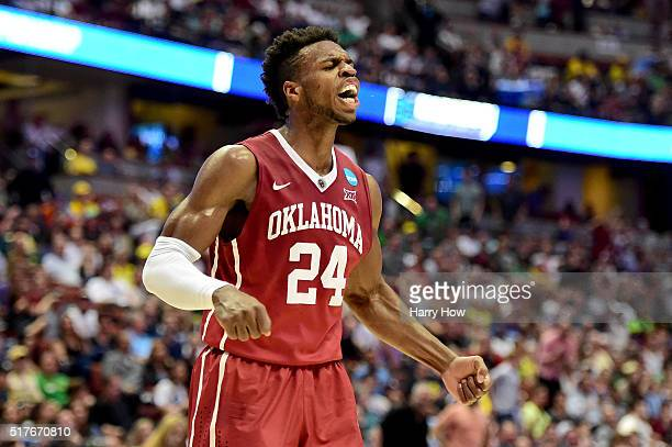 Buddy Hield of the Oklahoma Sooners reacts in the first half while taking on the Oregon Ducks in the NCAA Men's Basketball Tournament West Regional...
