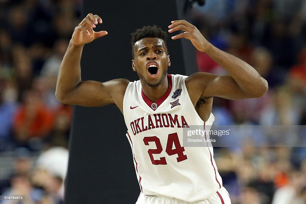 Buddy Hield of the Oklahoma Sooners reacts in the second half against the Villanova Wildcats during the NCAA Men's Final Four Semifinal at NRG...