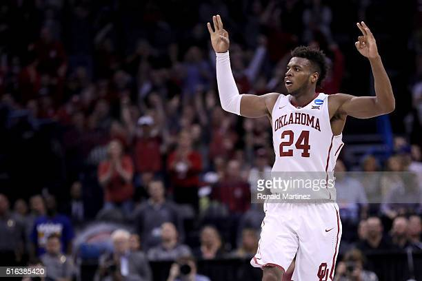 Buddy Hield of the Oklahoma Sooners reacts in the second half while taking on the Cal State Bakersfield Roadrunners in the first round of the 2016...