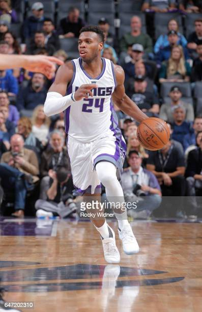 Buddy Hield of the Sacramento Kings brings the ball up the court against the Minnesota Timberwolves on February 27 2017 at Golden 1 Center in...