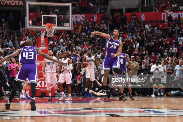 Buddy Hield of the Sacramento Kings celebrates defeating the LA Clippers on March 26 2017 at STAPLES Center in Los Angeles California NOTE TO USER...
