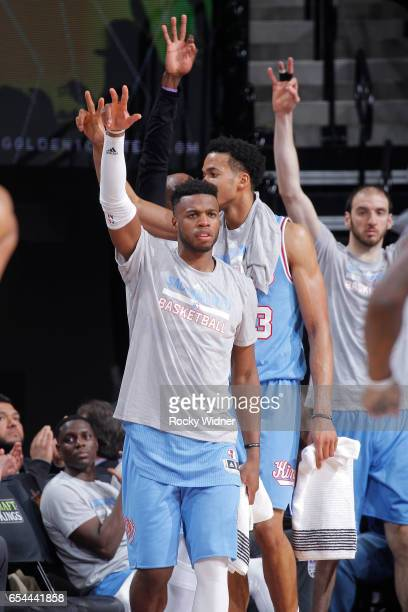 Buddy Hield of the Sacramento Kings cheers on his teammates against the Washington Wizards on March 10 2017 at Golden 1 Center in Sacramento...