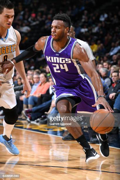 Buddy Hield of the Sacramento Kings drives to the basket during the game against the Denver Nuggets on March 6 2017 at the Pepsi Center in Denver...