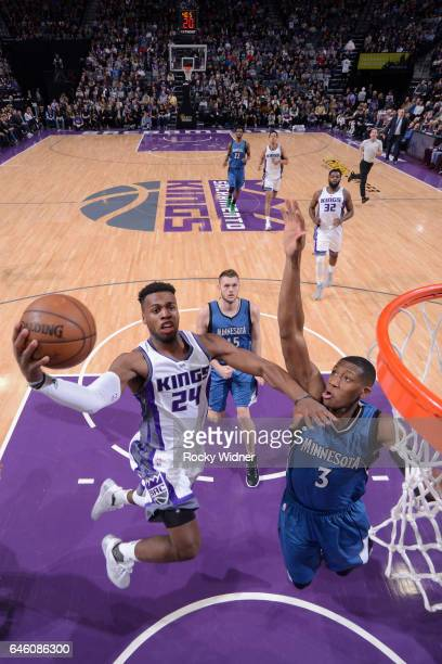 Buddy Hield of the Sacramento Kings goes to the basket against the Minnesota Timberwolves on February 27 2017 at Golden 1 Center in Sacramento...