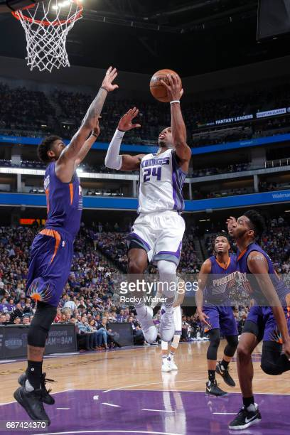 Buddy Hield of the Sacramento Kings goes up for a lay up against the Phoenix Suns on April 11 2017 at Golden 1 Center in Sacramento California NOTE...