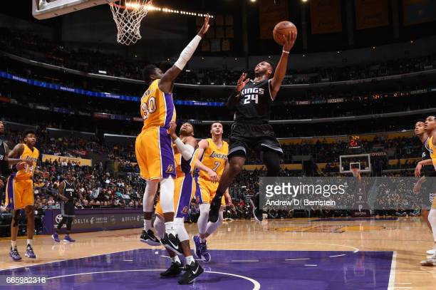Buddy Hield of the Sacramento Kings goes up for a shot during a game against the Los Angeles Lakers on April 7 2017 at STAPLES Center in Los Angeles...