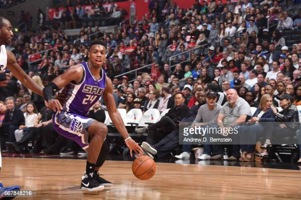 Buddy Hield of the Sacramento Kings handles the ball against the Los Angeles Clippers on April 12 2017 at STAPLES Center in Los Angeles California...