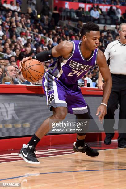 Buddy Hield of the Sacramento Kings handles the ball against the Los Angeles Clipperson April 12 2017 at STAPLES Center in Los Angeles California...