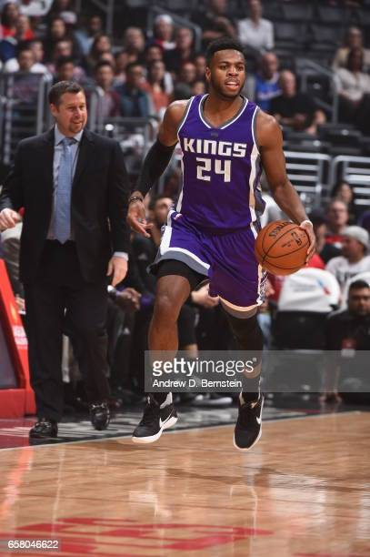Buddy Hield of the Sacramento Kings handles the ball against the LA Clippers on March 26 2017 at STAPLES Center in Los Angeles California NOTE TO...