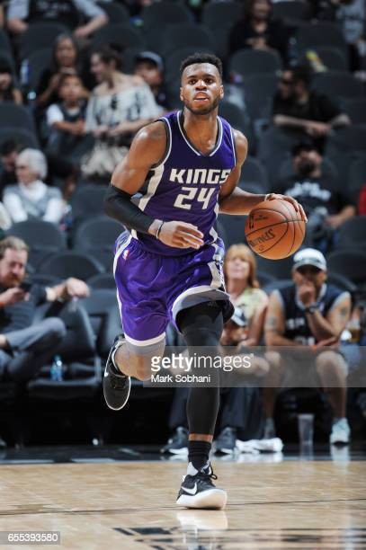 Buddy Hield of the Sacramento Kings handles the ball against the San Antonio Spurs during the game on March 19 2017 at the ATT Center in San Antonio...