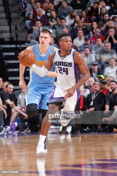 Buddy Hield of the Sacramento Kings handles the ball during a game against the Denver Nuggets on February 23 2017 at Golden 1 Center in Sacramento...