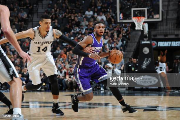 Buddy Hield of the Sacramento Kings handles the ball during a game against the San Antonio Spurs on March 8 2017 at the ATT Center in San Antonio...