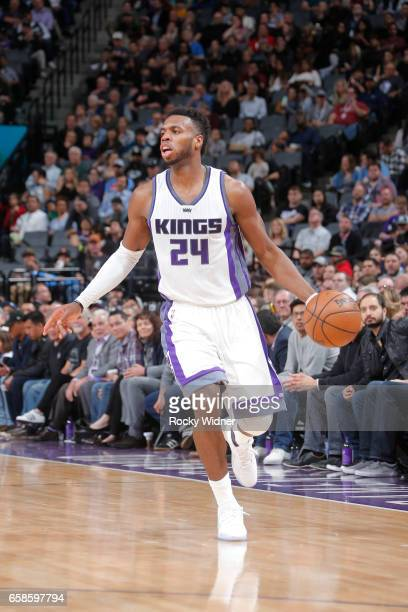Buddy Hield of the Sacramento Kings handles the ball during a game against the Memphis Grizzlies on March 27 2017 at Golden 1 Center in Sacramento...