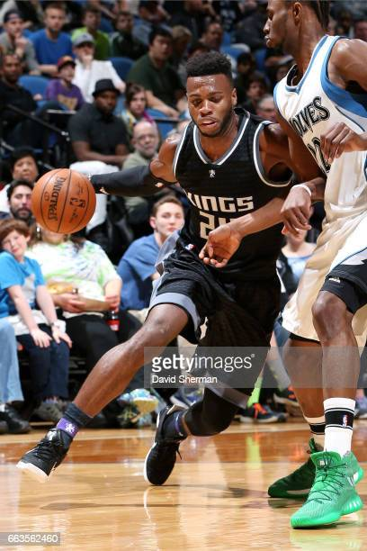Buddy Hield of the Sacramento Kings handles the ball during the game against the Minnesota Timberwolves on April 1 2017 at Target Center in...