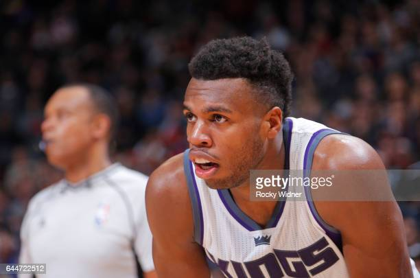 Buddy Hield of the Sacramento Kings looks on during a game against the Denver Nuggets on February 23 2017 at Golden 1 Center in Sacramento California...