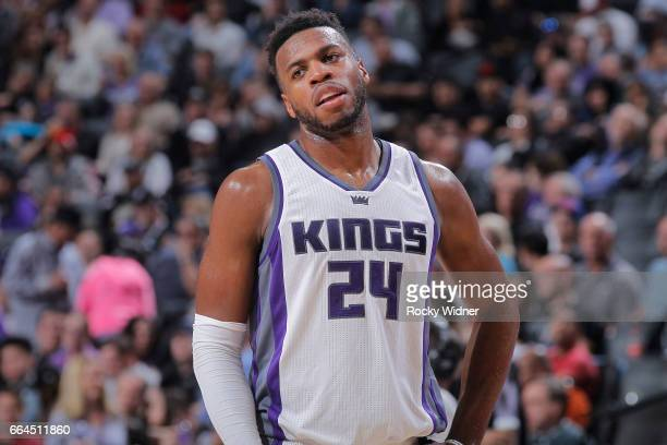 Buddy Hield of the Sacramento Kings looks on during the game against the Utah Jazz on March 29 2017 at Golden 1 Center in Sacramento California NOTE...