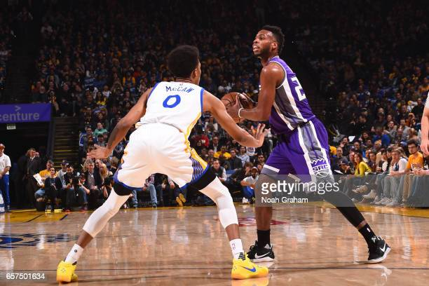 Buddy Hield of the Sacramento Kings looks to pass the ball against the Golden State Warriors on March 24 2017 at ORACLE Arena in Oakland California...
