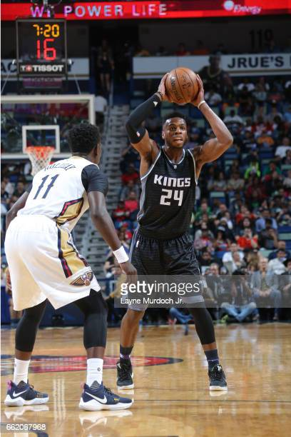 Buddy Hield of the Sacramento Kings looks to pass the ball against the New Orleans Pelicans on March 31 2017 at the Smoothie King Center in New...