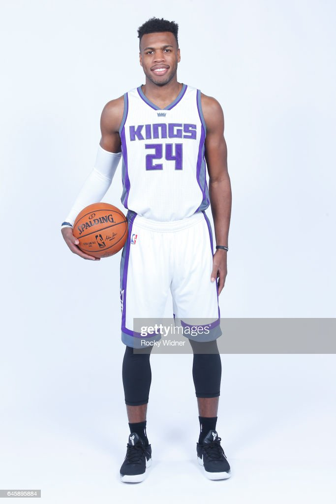 Buddy Hield #24 of the Sacramento Kings poses for a photo on February 24, 2017 at the Golden 1 Center in Sacramento, California.