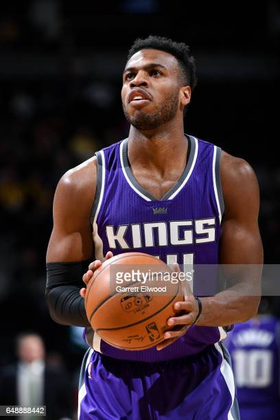 Buddy Hield of the Sacramento Kings shoots a free throw during the game against the Denver Nuggets on March 6 2017 at the Pepsi Center in Denver...