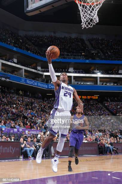 Buddy Hield of the Sacramento Kings shoots a lay up against the Phoenix Suns on April 11 2017 at Golden 1 Center in Sacramento California NOTE TO...