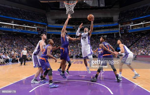 Buddy Hield of the Sacramento Kings shoots a layup against the Phoenix Suns on April 11 2017 at Golden 1 Center in Sacramento California NOTE TO USER...