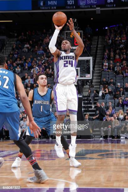 Buddy Hield of the Sacramento Kings shoots the ball against the Minnesota Timberwolves on February 27 2017 at Golden 1 Center in Sacramento...