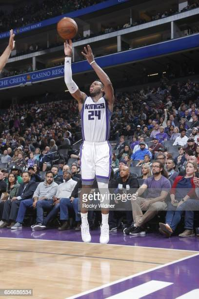 Buddy Hield of the Sacramento Kings shoots the ball against the Milwaukee Bucks on March 22 2017 at Golden 1 Center in Sacramento California NOTE TO...