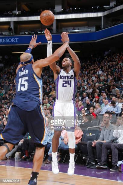 Buddy Hield of the Sacramento Kings shoots the ball during a game against the Memphis Grizzlies on March 27 2017 at Golden 1 Center in Sacramento...