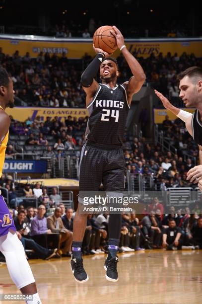 Buddy Hield of the Sacramento Kings shoots the ball during a game against the Los Angeles Lakers on April 7 2017 at STAPLES Center in Los Angeles...