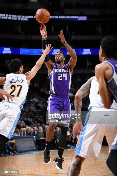 Buddy Hield of the Sacramento Kings shoots the ball during the game against the Denver Nuggets on March 6 2017 at the Pepsi Center in Denver Colorado...