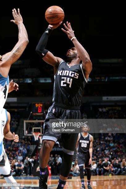 Buddy Hield of the Sacramento Kings shoots the ball during the game against the Minnesota Timberwolves on April 1 2017 at Target Center in...