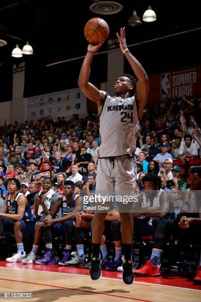 Buddy Hield of the Sacramento Kings shoots the ball during the game against the Memphis Grizzlies during the 2017 Las Vegas Summer League on July 9...