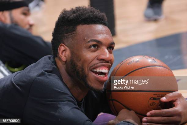 Buddy Hield of the Sacramento Kings warms up against the Houston Rockets on April 9 2017 at Golden 1 Center in Sacramento California NOTE TO USER...