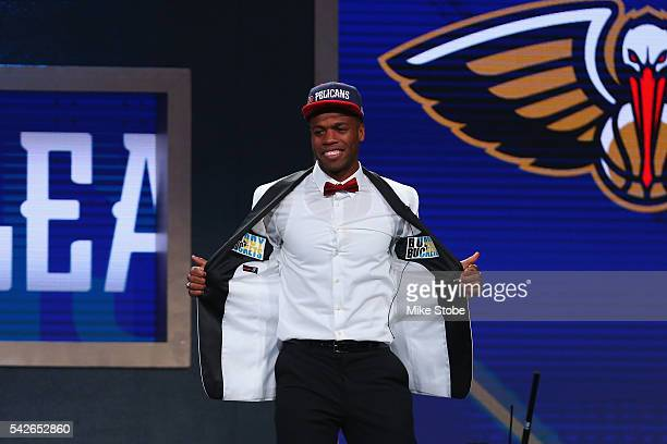 Buddy Hield poses after being drafted sixth overall by the New Orleans Pelicans in the first round of the 2016 NBA Draft at the Barclays Center on...