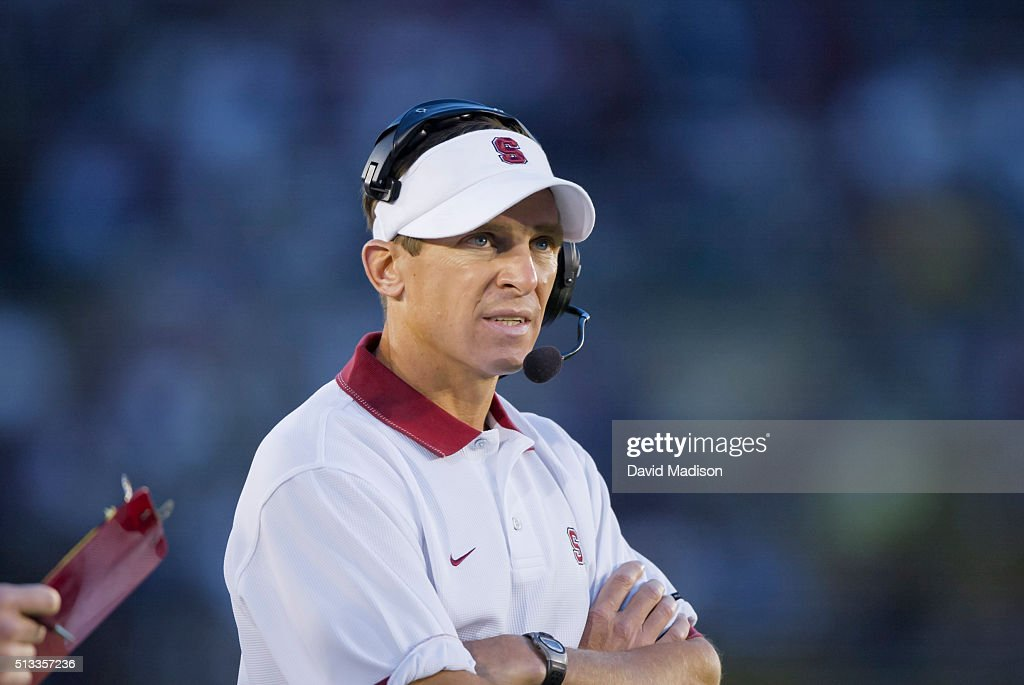 Buddy Teevens Head Coach of the Stanford Cardinal watches from the sidelines during an NCAA football game against the San Jose State Spartans played...