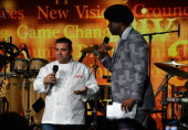 Buddy Valastro and Magic Johnson onstage at Time Warner Cable Studios And Aspire Bring Soul To The Big Game on January 31 2014 in New York City