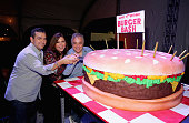 Buddy Valastro Rachel Ray and Lee Schrager attend Amstel Light Burger Bash Presented By Schweid Sons Hosted By Rachael Ray during 2016 Food Network...