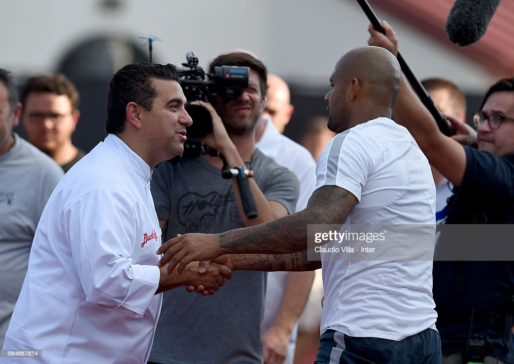 Buddy Valestro and Felipe Melo chat after the FC Internazionale training session at Montclair State University on July 29 2016 in Montclair United...