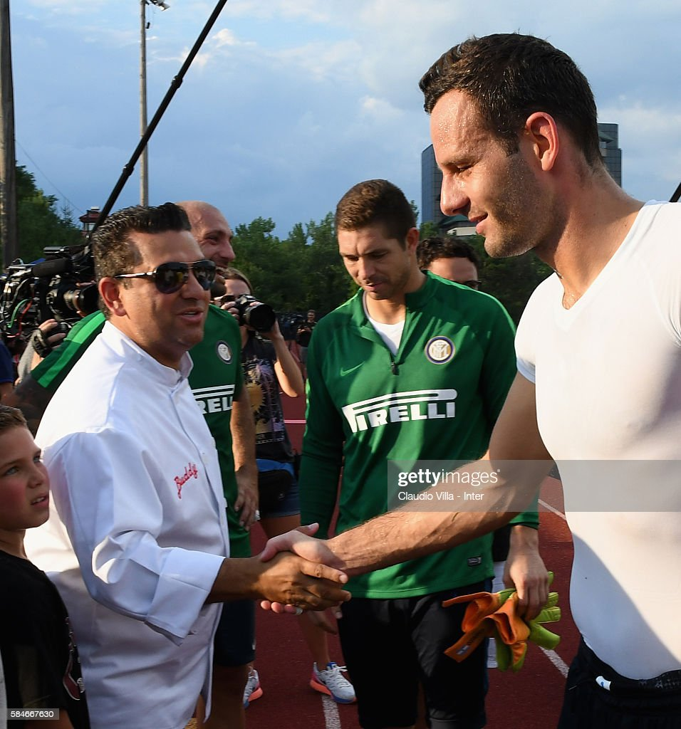Buddy Valestro and Samir Handanovic attend after the FC Internazionale training session at Montclair State University on July 29 2016 in Montclair...
