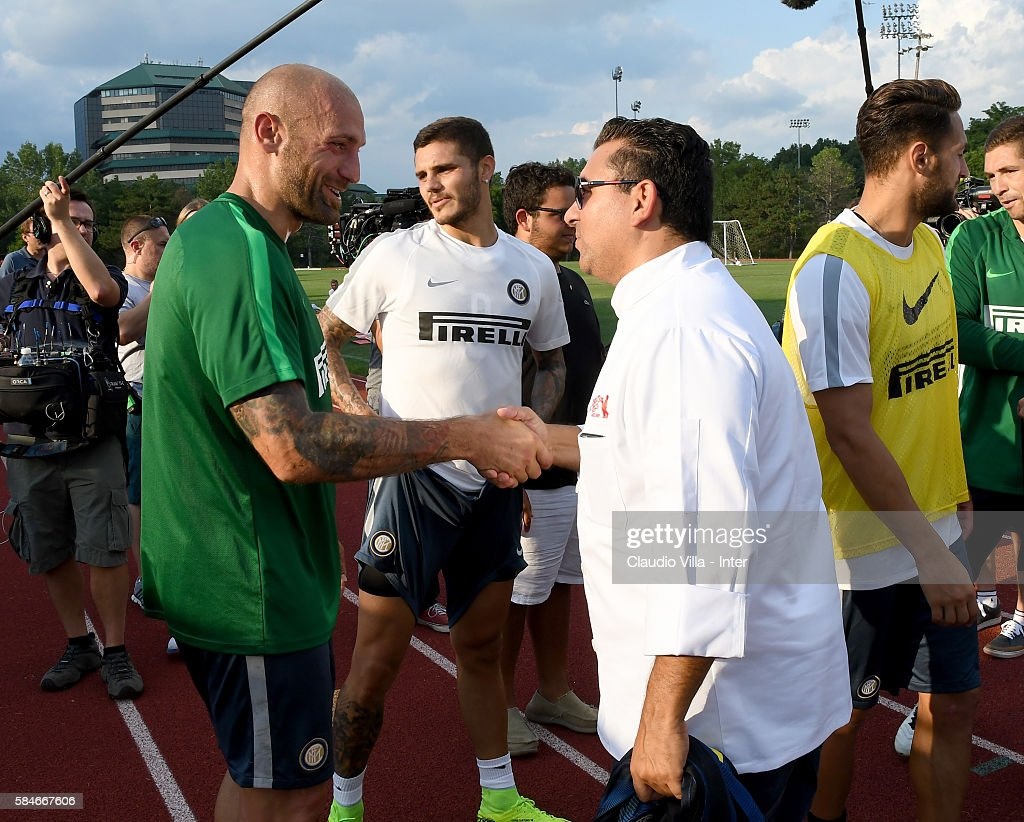 Buddy Valestro and Tommaso Berni attend after the FC Internazionale training session at Montclair State University on July 29 2016 in Montclair...