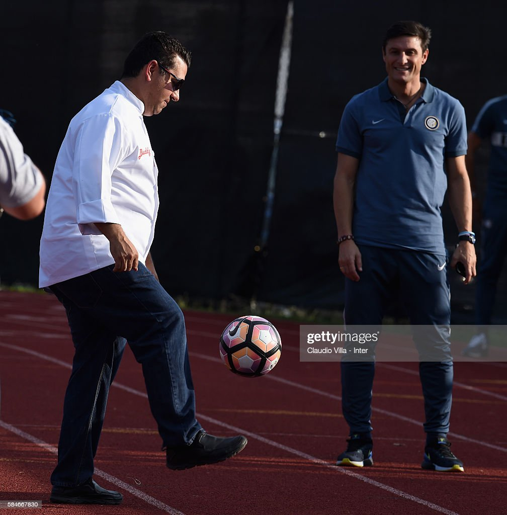 Buddy Valestro and Vice President FC Internazionale Javier Zanetti attend the FC Internazionale training session at Montclair State University on...