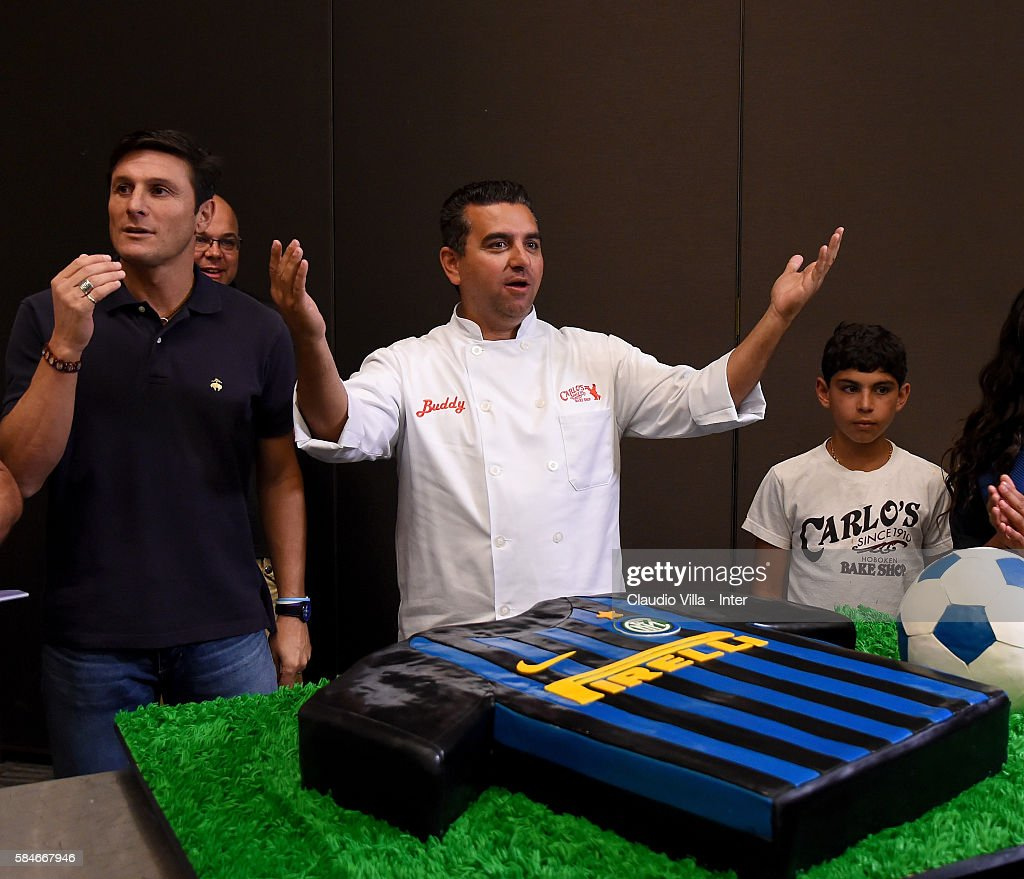 Buddy Valestro and Vice President FC Internazionale Javier Zanetti attend after the FC Internazionale training session at Montclair State University...