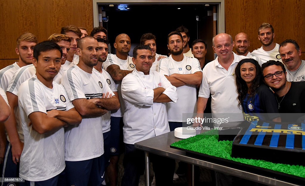 Buddy Valestro Mauro Castano and player of FC Internazionale pose for a photo after the FC Internazionale training session at Montclair State...