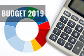 budget 2019, business concept with calculator and colorful charts