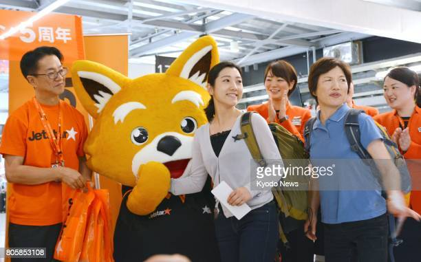 Budget carrier Jetstar holds an event on July 3 at Narita airport near Tokyo to celebrate the 5th anniversary of its launch Carrying more than 19...