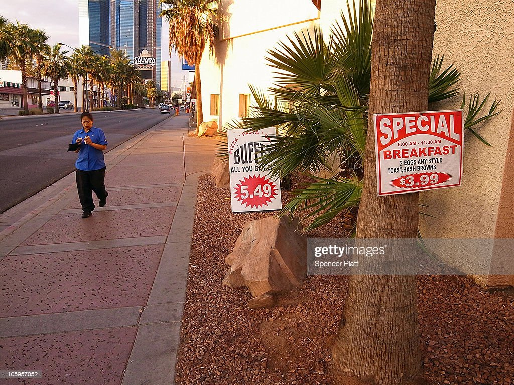 Budget dining is advertised along Las Vegas Boulevard on October 22, 2010 in Las Vegas, Nevada. Nevada once had among the lowest unemployment rates in the United States at 3.8 percent but has since fallen on difficult times. Las Vegas, the gaming capital of America, has been especially hard hit with unemployment currently at 14.7 percent and the highest foreclosure rate in the nation. Among the sparkling hotels and casinos downtown are dozens of dormant construction projects and hotels offering rock-bottom rates. As the rest of the country slowly begins to see some economic progress, Las Vegas is still in the midst of the economic downturn.