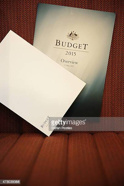 Budget overview papers left in Budget lockup at Parliament House on May 12 2015 in Canberra Australia The Coalition government will tonight deliver...