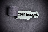 2015 budget word under torn black sugar paper